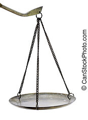 antique scales - perspective of antique retro golden scales...