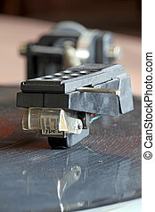 record player - Close-up view of a record player spinning an...
