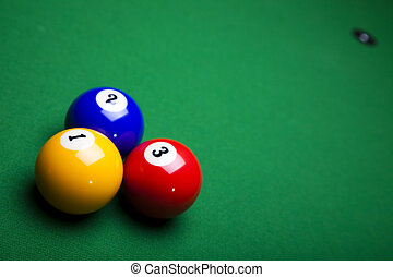 Billiard table and balls