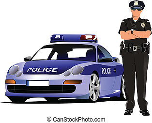 Police woman standing near police car isolated on white....