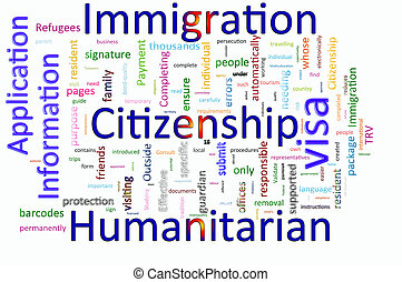 Word cloud concept illustration of Immigration and...