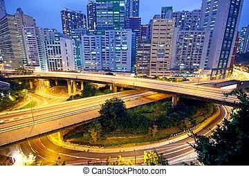 urban area dusk