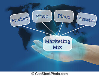 business marketing - man hand hold business marketing mix...