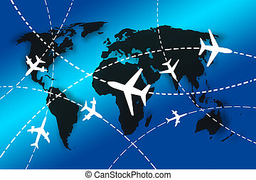 World travel concept - planes Routes around the world for...