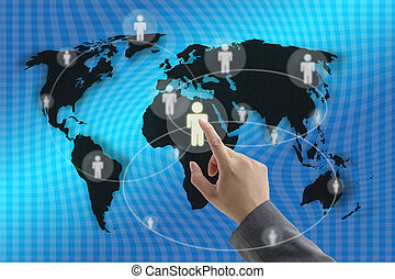 Social Community - Businessman hand touching virtual screen...