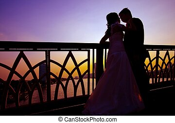 silhouette of happiness couples - silhouette of romantic and...