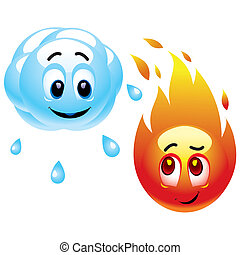 Smileys - Smiling balls representing raining cloud and