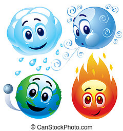 Smileys - Smiling balls representing natural elements water,...