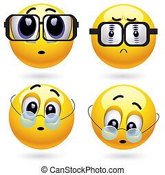 Smileys - Smiling ball with different dioptre of a lens