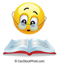 Smiley - Smiling ball reading book with glasses