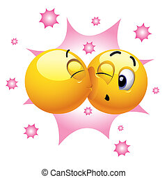 Smileys - Smiling ball kissing another smiling ball