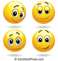 Smileys - Self-satisfied smiley balls posing