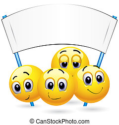 Smileys - Smiley balls protesting and holding placard
