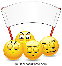 Smileys - ------ Smiley balls protesting and holding placard...