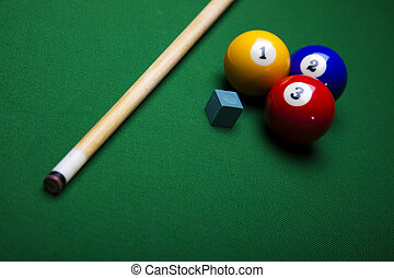Snooker - Pool game balls against a green