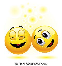 Smileys - two smiling balls having fun and enjoying each...