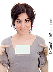 a card - young beautiful woman showing a card, isolated