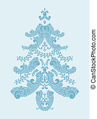 vector christmas tree from paisley elements  in blue