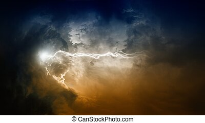 Lightning in dark sky