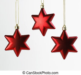Three Christmas Stars - Three red Christmas Stars