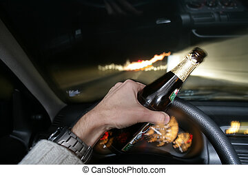 drunk - drinking beer while driving car