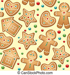 gingerbread seamless pattern for christmas design, vector