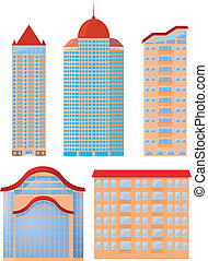 Collection of vector illustrations of apartment buildings