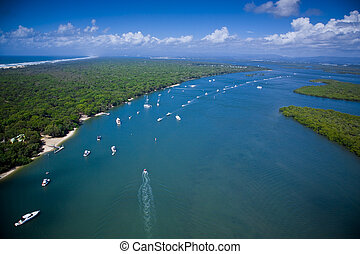 Aerial view of yachts