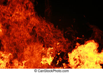 Big Fire - close-up of a big wooden fire
