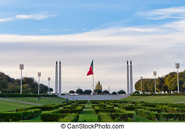Parque Eduardo VII in the center of Lisbon, Portugal -...