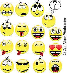 Smileys. [Vector] - Smileys contains fill only. All curves...