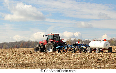 arada, fertilización, granja, campo