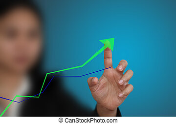 hand up graph - business hand point at up trend graph