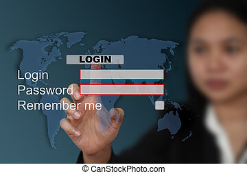 world System login - female hand push at login with world...