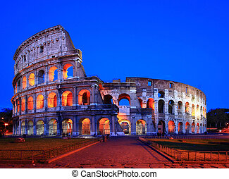 Colosseum rome italy night - Colosseum in Twilight with...
