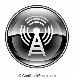WI-FI tower icon black, isolated on white background