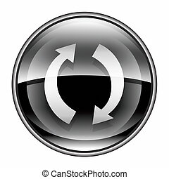 refresh icon black, isolated on white background
