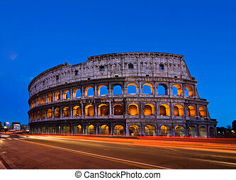 colosseum rome italy night - Colosseum at dusk with Light...