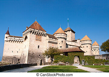 closeup of Chateau de Chillon, Montreux Switzerland