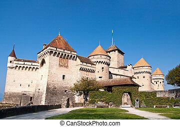 closeup of Chateau de Chillon, Montreux Switzerland