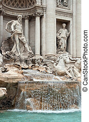 Trevi Fountain Rome - closeup of Fountain di Trevi landmark...