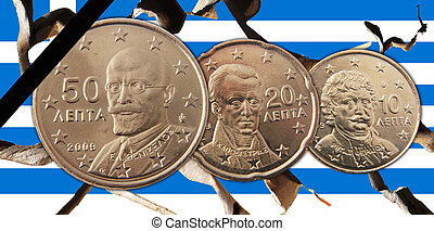 Greece - A Greek broken flag with 50, 20, 10 cents coins and...