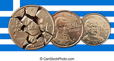 Greece - A Greek flag with broken 50, 20, 10 cents coins