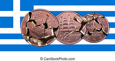 Greece - A Greek flag with broken 5, 2, 1 cents coins