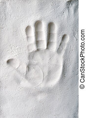 Handprint of a baby in the plaster