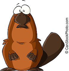 Platypus on a white background, vector illustration