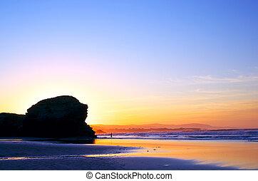 Beautiful sunset on the ocean.