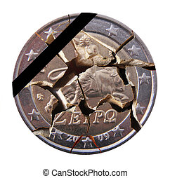 Greek coin - A Greek broken coin with a mourning band