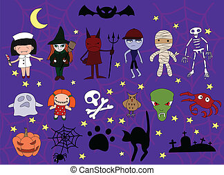 Set of halloween charackters