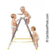 group of babies climbing on stepladder white background -...